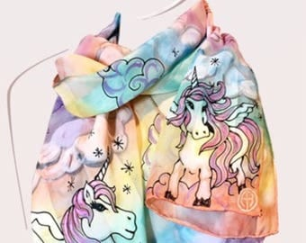 Pastel Rainbow Unicorn scarf, magical hand painted silk satin scarf, flying Pegasus in the sky, fairy tale scarf, my little pony scarf