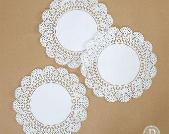 """8"""" Hoffmaster White Round Paper Doilies"""