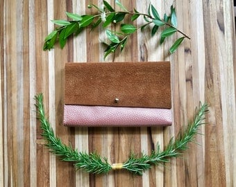Leather iPhone Wallet - The Rustic Lupe in Rose Gold & Moccasin Tan