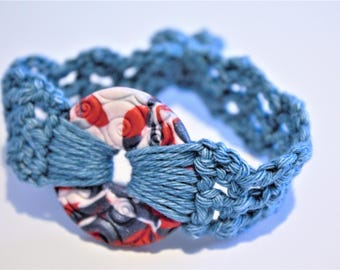 Red, White and Blue Polymer Clay Crochet Bracelet
