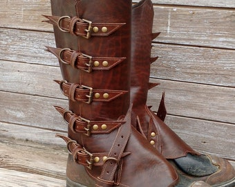 Primitive Glossy Chocolate Brown Leather Peaked Spats with Antiqued Brass Hardware