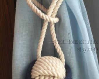 Nautical Curtain Ties, 2 Cotton Rope Tiebacks, 2 Curtain Tiebacks, Cream and Navy Tiebacks, Rope Curtain Tieback, For Nautical Curtains