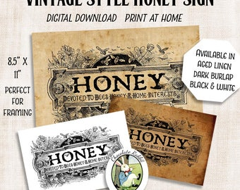 Honey Sign, Vintage Bee Clip Art, Printable Sign, Farmhouse Decor, Country Primitive Fabric Transfer, Farmers Market Sign, Bee Wall Art