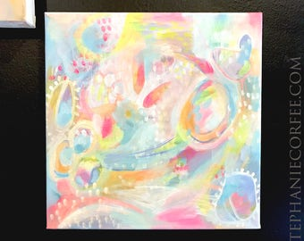 Pink Koi - Original acrylic painting on canvas, colorful painting, abstract painting, rainbow painting, playroom art