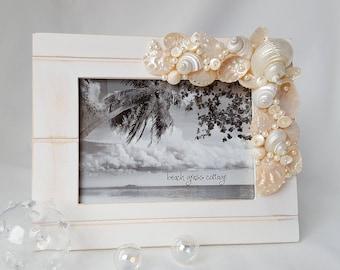 "Beach Decor Frame, Coastal Decor Seashell Frame, Nautical Shell Frame, Beach Wedding Frame, Ivory Seashell Frame, White Shell Frame - 5x7"""