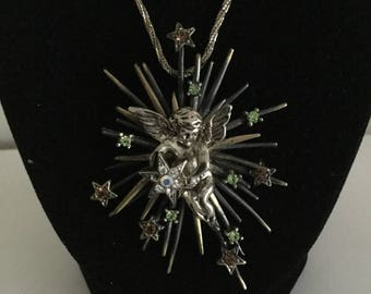 Vintage Angel & Stars Rhinestones Pendant Necklace