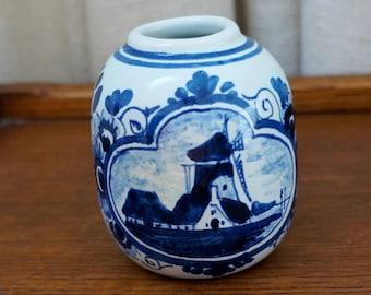 Vintage Delft Vase Delftware Dutch Pottery Windmill Blue and White Oud Delft