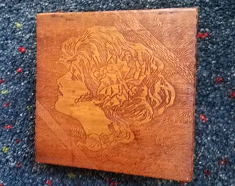 Vintage Pyrography Victorian Woman Box Portrait Flemish Art Gibson Girl Folk Art Hinged
