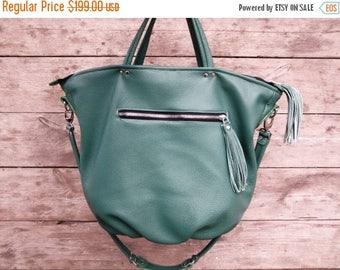 SALE Cedar green womens leather purse, leather hobo, womens handbag, work bag, shoulder bag, large bag, weekend bag, roomy bag for new moms