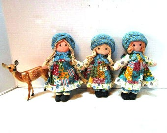Choice One Vintage Holly Hobbie Cloth Doll, Knickerbocker Toys, The Original Sweet Patchwork Girl, Braids, Bonnet, Apron, Country , Small
