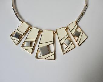 Vintage Trifari Modernist Enamel Geometric Necklace.