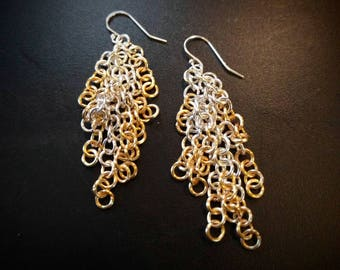 Gold and Silver Dangle Chainmail let Earrings
