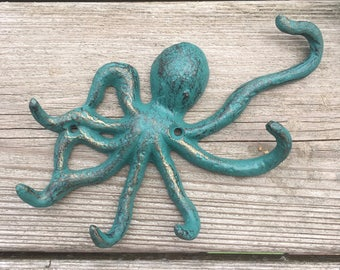 Cast Iron Octopus Key Holder - Octopus Key Rack - Octopus Key Hook - Nautical Key Rack (WH07)