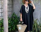 LINEN, Caftan, Kaftan, Midi, Resort Wear, Bohemian, Island Style,  Beach Dress, Coverup, Black, White, Natural, Gray, Gold, 4 Sizes