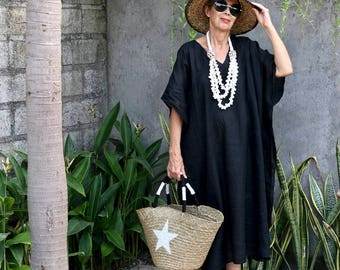LINEN, Caftan, Kaftan, Midi, Resort Wear, Bohemian, Island Style,  Beach Dress, Coverup, Black, White, Natural, Gray, 4 Sizes