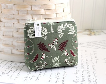 Small Coin Purse Change Purse Card Holder Forest Green Woodland Zipper Pouch