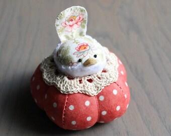 Red and White Bird Pincushion Cute Bird Pin Cushion Rustic Pin Cushion Polka Dots