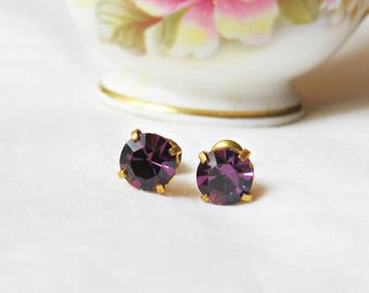 Purple Amethyst Earrings Ear Studs Vintage Glass Round. Glam It Up Jewellery dspdavey Jewelry. Cute Small Miniature Sparkly Bridesmaid