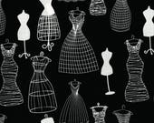 """1yd Alexander Henry Fabric """"Dress Forms"""", Retro-inspired, Black and White, Novelty Fabric, black background"""