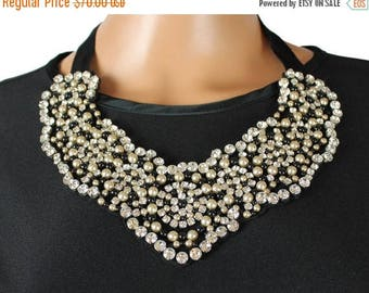 ON SALE Vintage Bib Necklace Large Rhinestone Black Off White Faux Pearl Beads Self Tie Belt Free US Shipping
