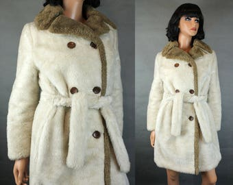 Vintage Trench Coat Sz M Off White Ivory Faux Fur Brown Trim Cathy Dee LA Sport Free US Shipping