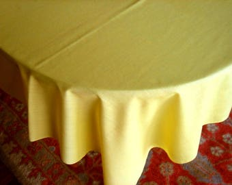 Tablecloth Vintage Solid Yellow Sheeting Table Cloth Spotless Easy Care Light Weight Cotton