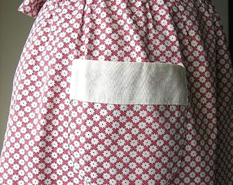 APRON Kitchen Skirt Bottom Cover PINAFORE Vintage Red Chintz Flowers