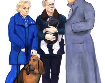 Sherlock and the Watsons Walk the Dog Print