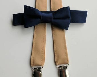 Navy Bowtie and tan Suspenders. Infant, Toddler, Boy. 2 weeks before shipment.