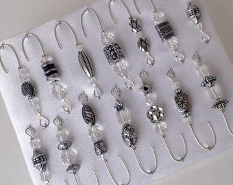 Beaded Ornament Hangers - Antique Crystal on Silver Wire - FREE SHIPPING
