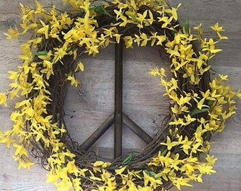 Forsythia Peace Sign Wreath, Peace Sign Grape Vine Wreath, Spring Wreath, Peace Sign, Grape Vine Wreath, Peace Wreath, Grapevine wreath
