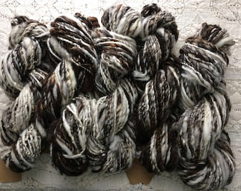 Yarn, Hand Spun, Undyed, Maine Jacob Wool, Single Ply, Worsted Weight