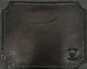 Vintage Black Leather Mouse Pad
