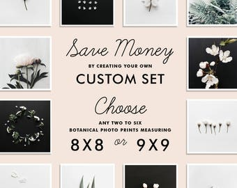 SAVE up to 20% - Custom Botanical Photo Set, Create your own set of TWO to SIX photography prints, 8x8 or 9x9 inches, Gallery Wall