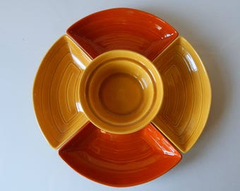 Fall Serving Dishes, Vintage California Pottery in burnt orange and goldenrod