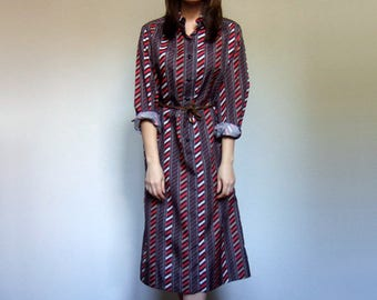 Vintage Shirtdress Long Sleeve Dress Button Up Dress 70s Striped Dress Women - Large to Extra Large L XL