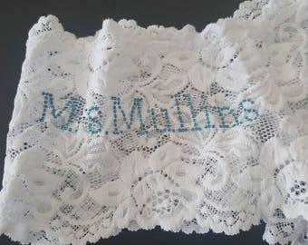 NEW MRS something blue underwear: Lace Booty Short Undies w/ Name in Rhinestones Honeymoon/wedding gift, lingerie, sexy, bridal shower,bride