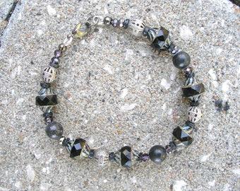 Kilkenny Ireland Black Marble Black Antique Turbine Picasso Bead Bracelet-Ireland Jewely