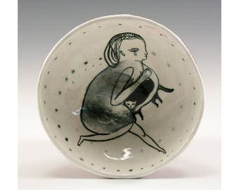 Little Black Kitty - Painting by Jenny Mendes in a Ceramic Pinch Bowl Finger Bowl