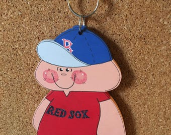 "Unique Boston Red Sox baseball x large key chain / luggage tag/wall hanging / holiday ornament handmade wood 5 3/4 high , 1/4 "" thick"