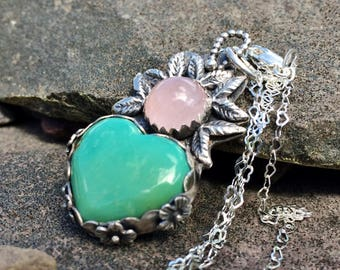 Turquoise Necklace, Heart Pendant, Sterling silver, Turquoise and quartz, Pink and Green, Boho Country Jewelry, Necklace for women