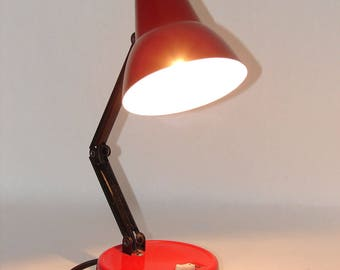 Vintage 1970s Mini Articulating Red Desk Lamp with Metal Shade