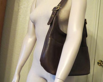 vintage Coach Dark Brown Leather Tote with Adjustable Shoulder Strap