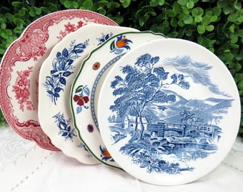 """Set of 4 Vintage Mismatched Ironstone China 7"""" Dessert Cake Salad Plates Colorful Blues, Pinks and Deep Red SP52"""