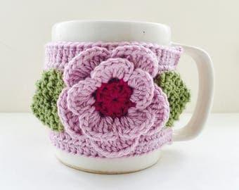 Floral Cup Cosy, Cup Sleeve, Mug Cosy, Cup Cozy, Mug Sleeve, Mug Warmer - in Cashmerino