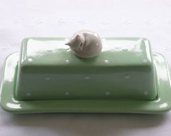 Butter Dish With Napping Kitty Cat Knob - 2 Piece - Choose Your Color - New, Pottery -  USA Made