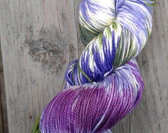 Hand Painted Lupine Superwash Merino and Nylon Sock Yarn -- purple and green