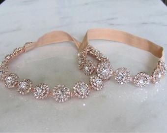 Rose Gold Crystal Rhinestone Bridal Garter Set,Wedding Garter,Bridal Accessories,Style #GSET23