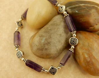 Silver Celtic Knot & Genuine Amethyst gemstone bracelet