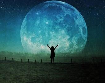 full super moon photo, blue moon, surreal landscape fine art photograph home decor, night sky blue astrology intuitive spiritual supermoon